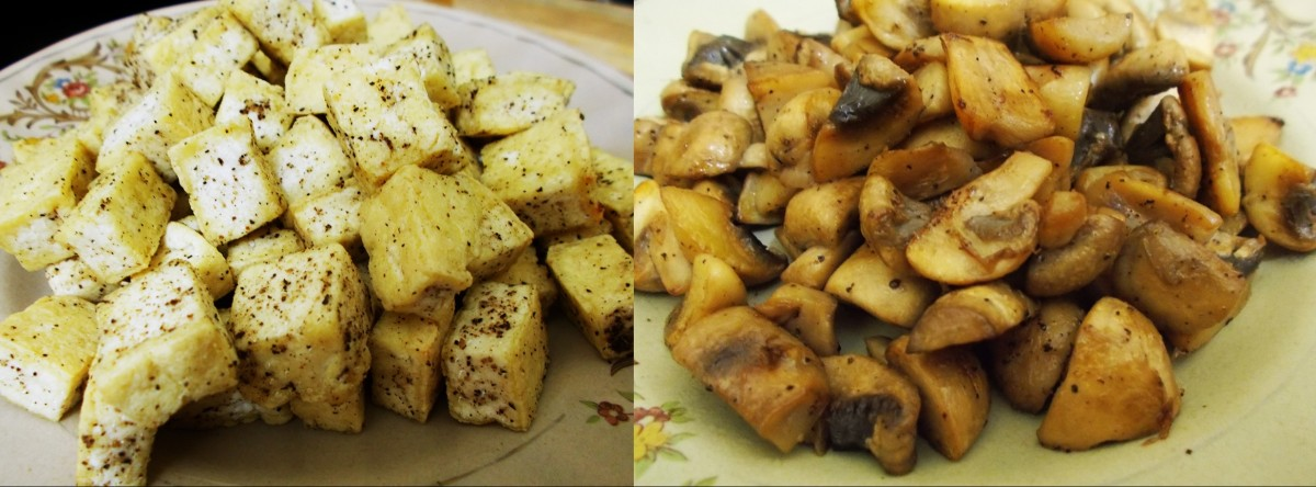 Sauteed mushrooms and tofu.