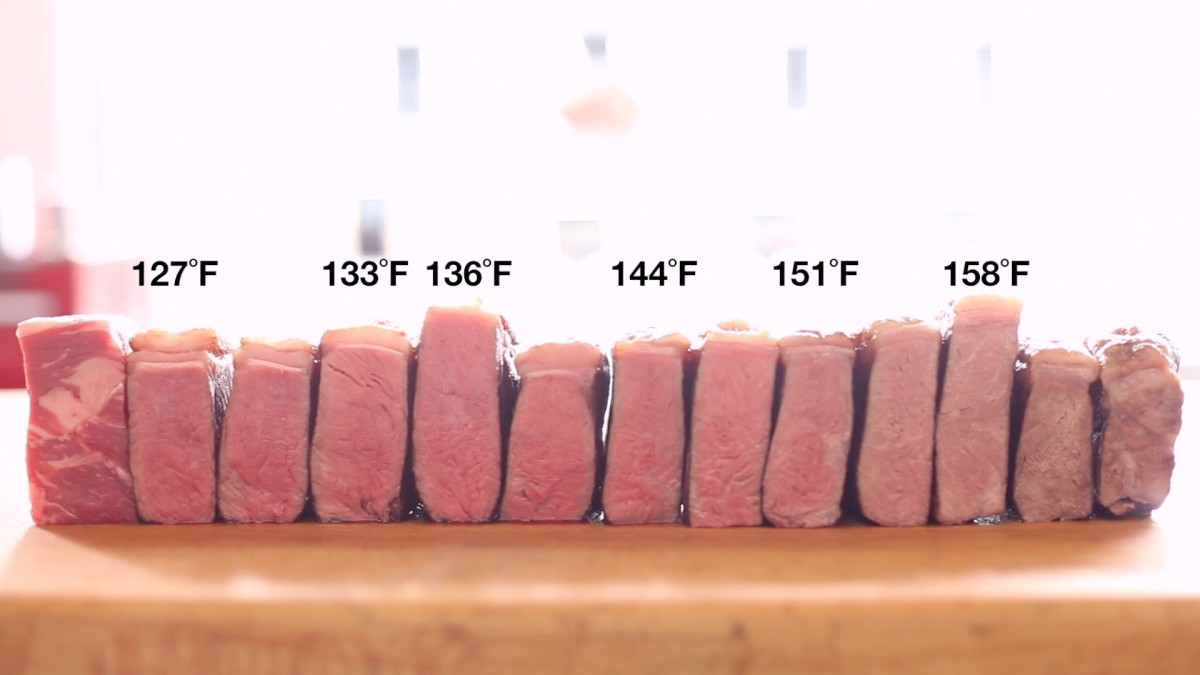 Sous vide steak at varying temperatures