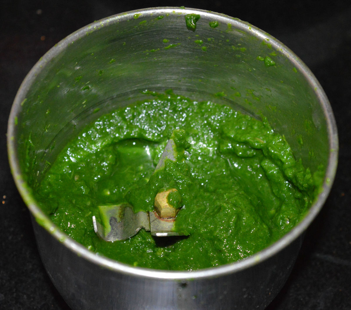 The spinach puree.