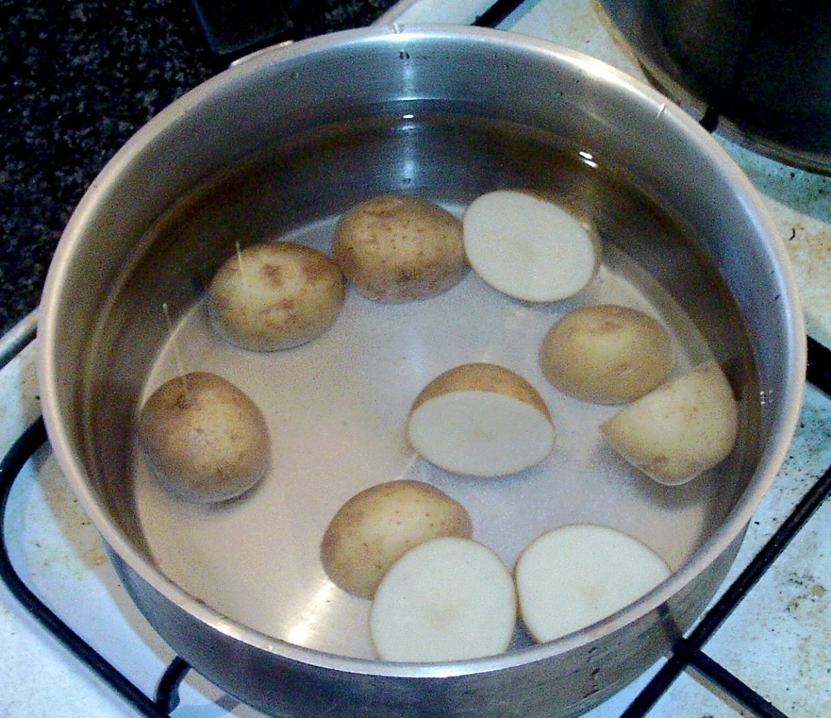 Potatoes are put on to cook in salted water