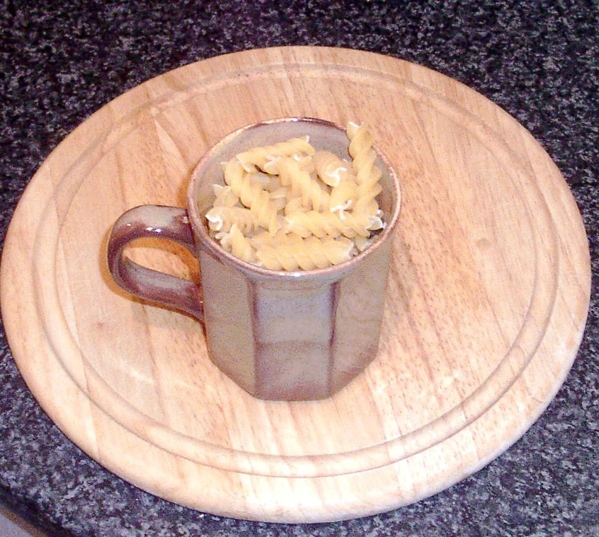 Dried fusilli pasta