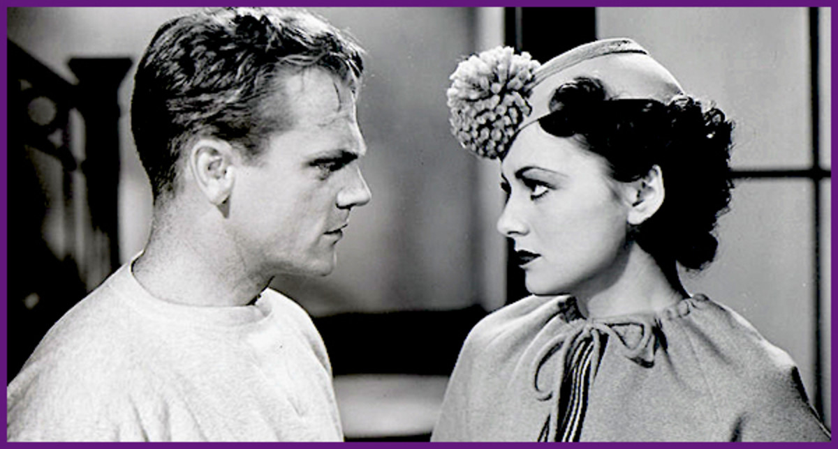 "Olivia de Havilland and James Cagney in a scene from 1935's ""The Irish in Us."""