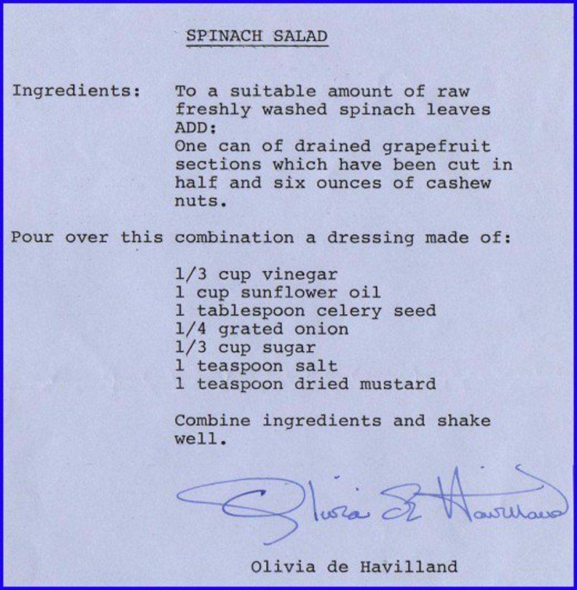 Olivia de Havilland loved a fresh spinach salad!