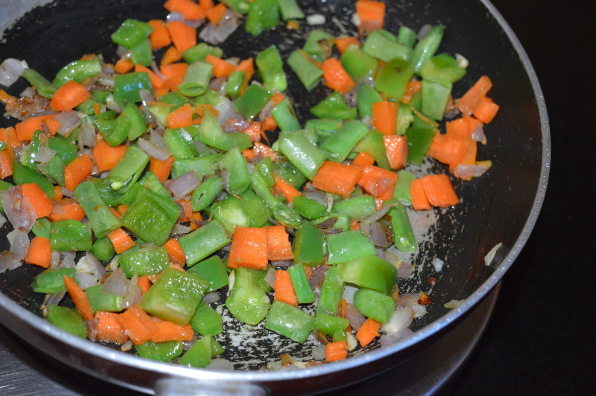 Stir-cook for 4-5 minutes or until veggies become a bit soft. Add a few drops of water to keep the veggies moist.