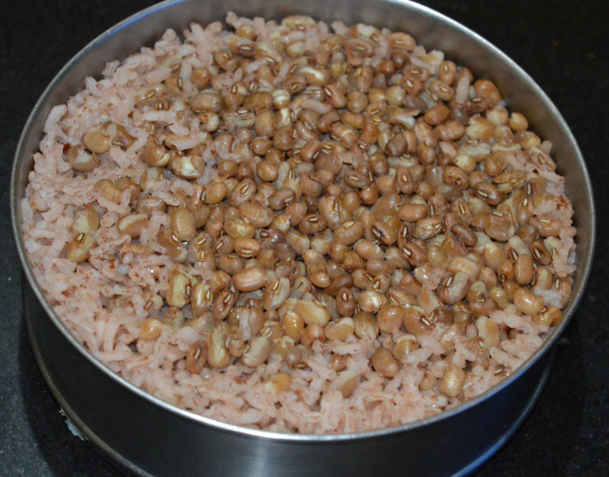 Step one: Cook brown rice and brown beans together, as per instructions. Keep aside for cooling.