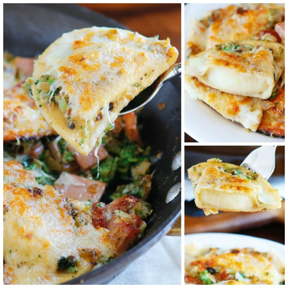 This recipe pairs pierogi with the classic combination of ham and cheese.