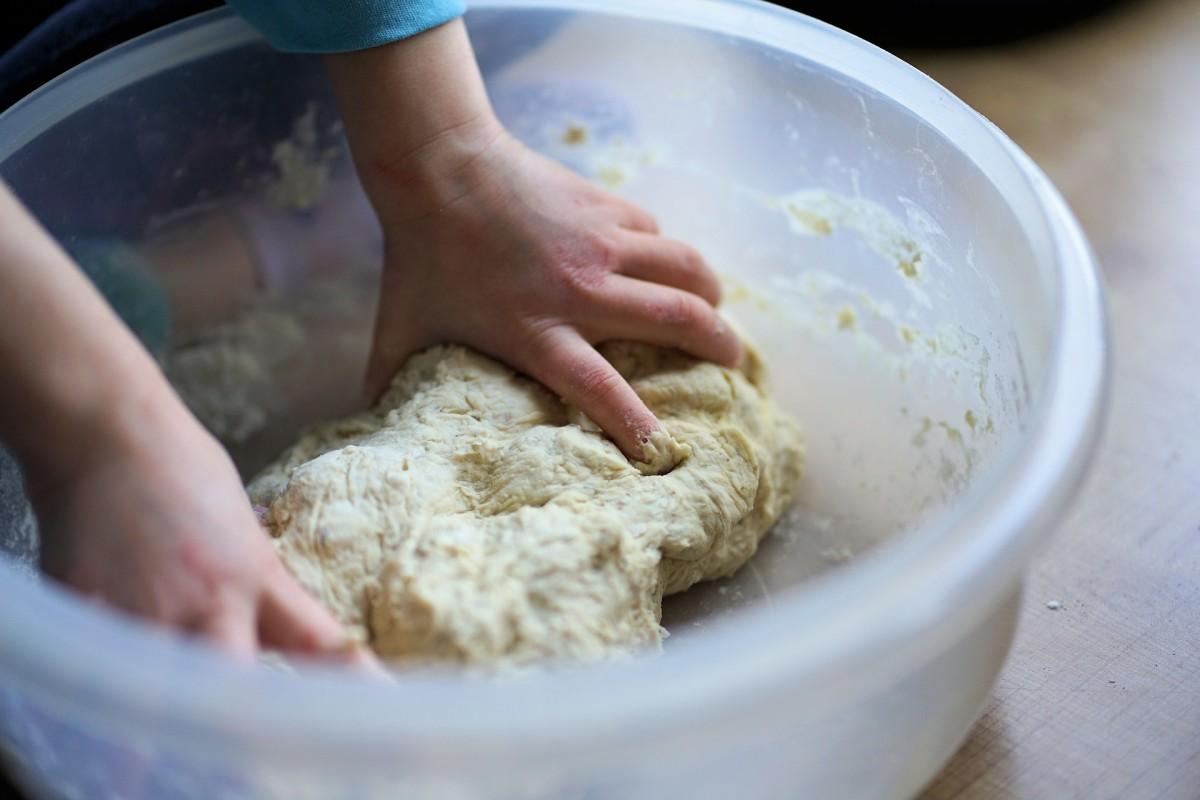 Making dough.
