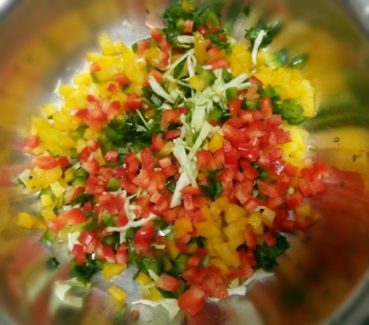 Finely chopped vegetables.