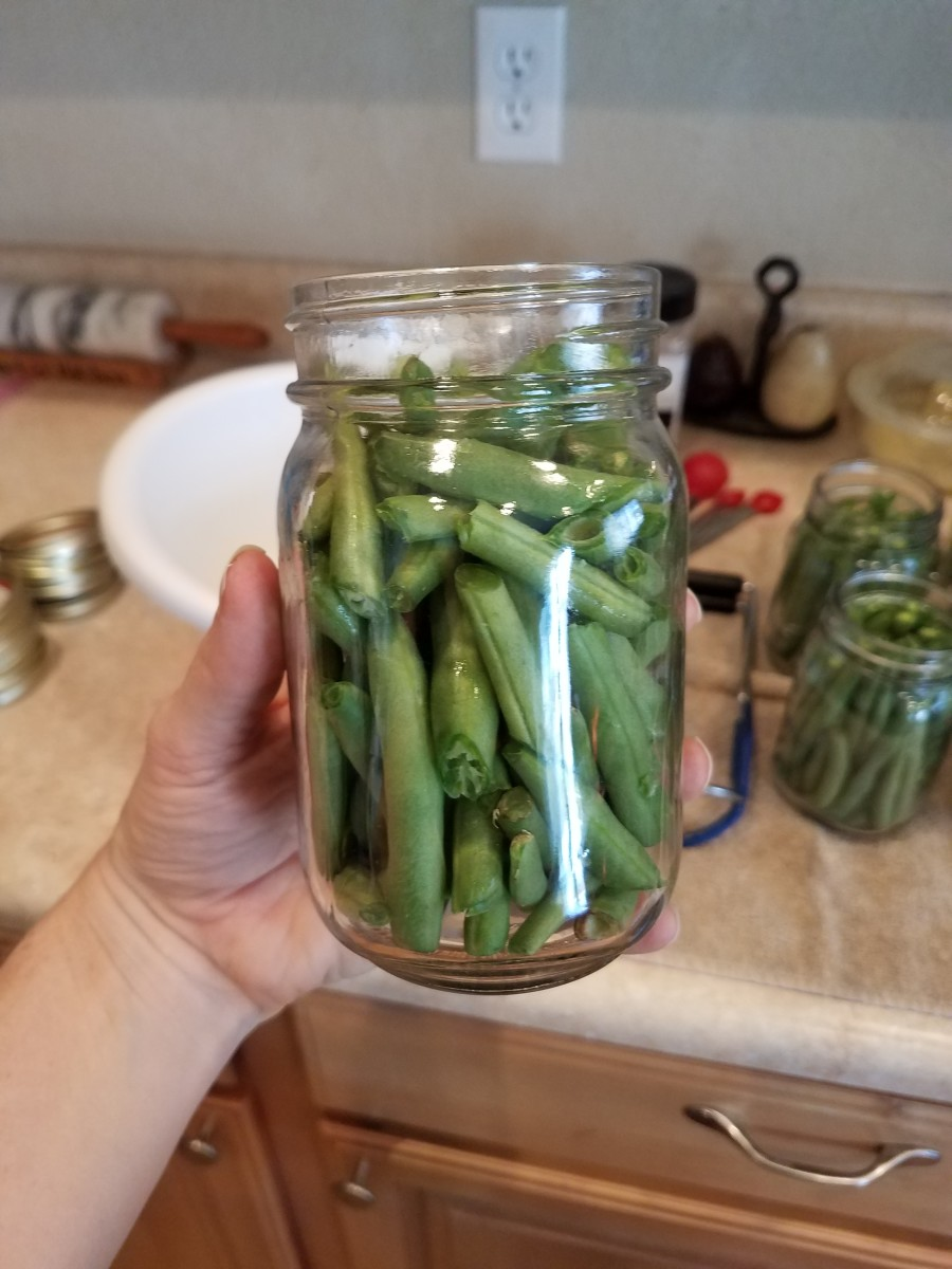 This is a jar with all of the leftover green bean pieces.