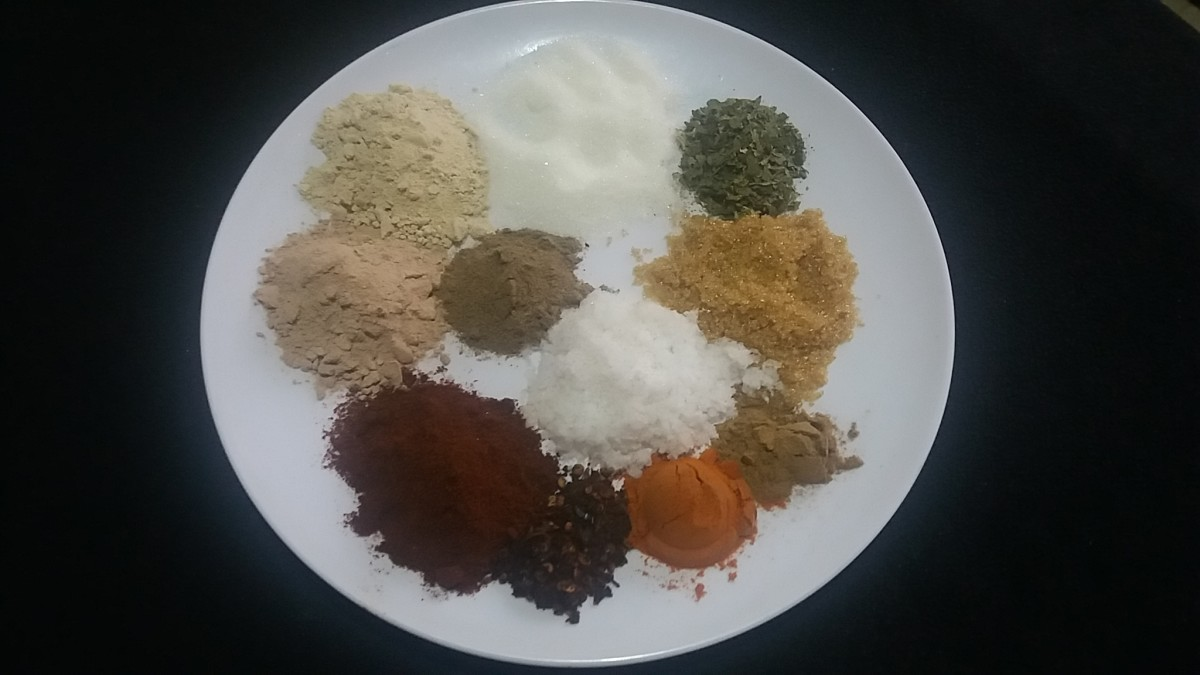 I use this colorful array of ingredients in my delicious sweet and spicy bbq popcorn seasoning