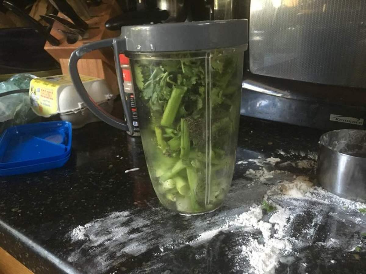 Process the cilantro, dill, scallions, and garlic.