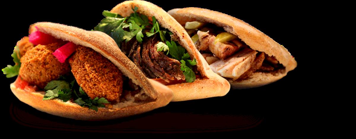 Modern-day mediterranean-style pita sandwiches