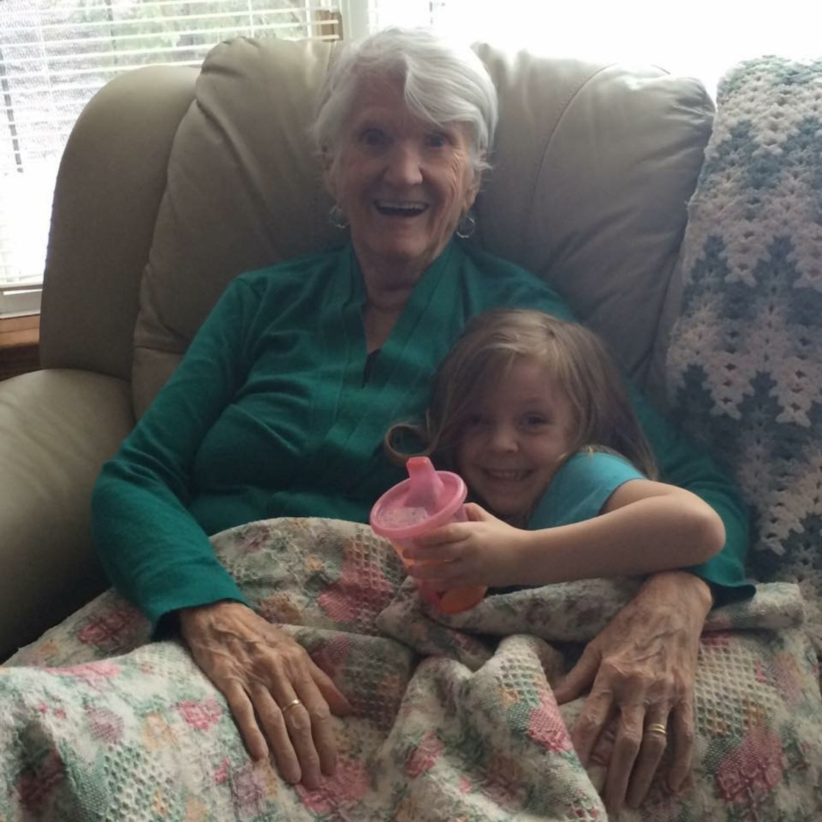 This is a picture of my Grandma and my daughter Gracie in 2015