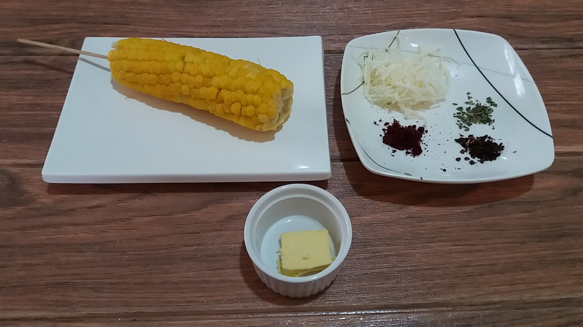 The ingredients for the elote.