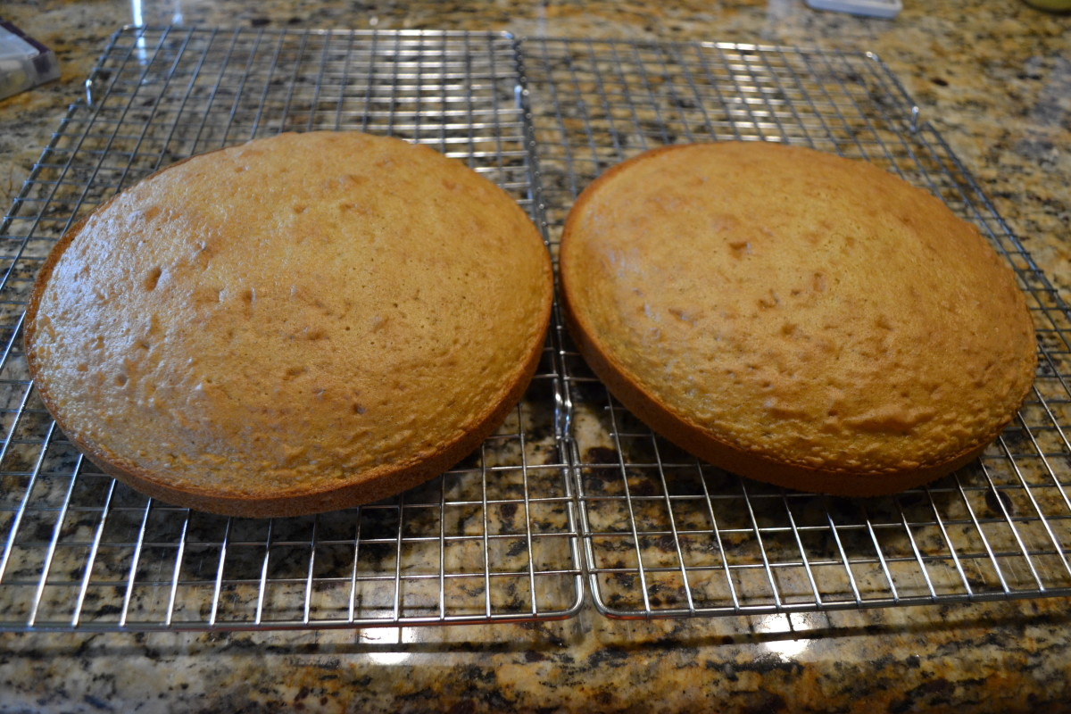 Cool cakes completely before frosting.