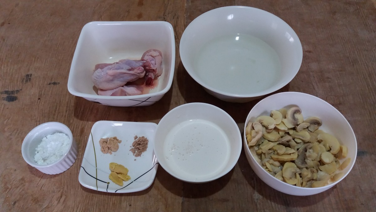 ingredients for creamy mushroom chicken