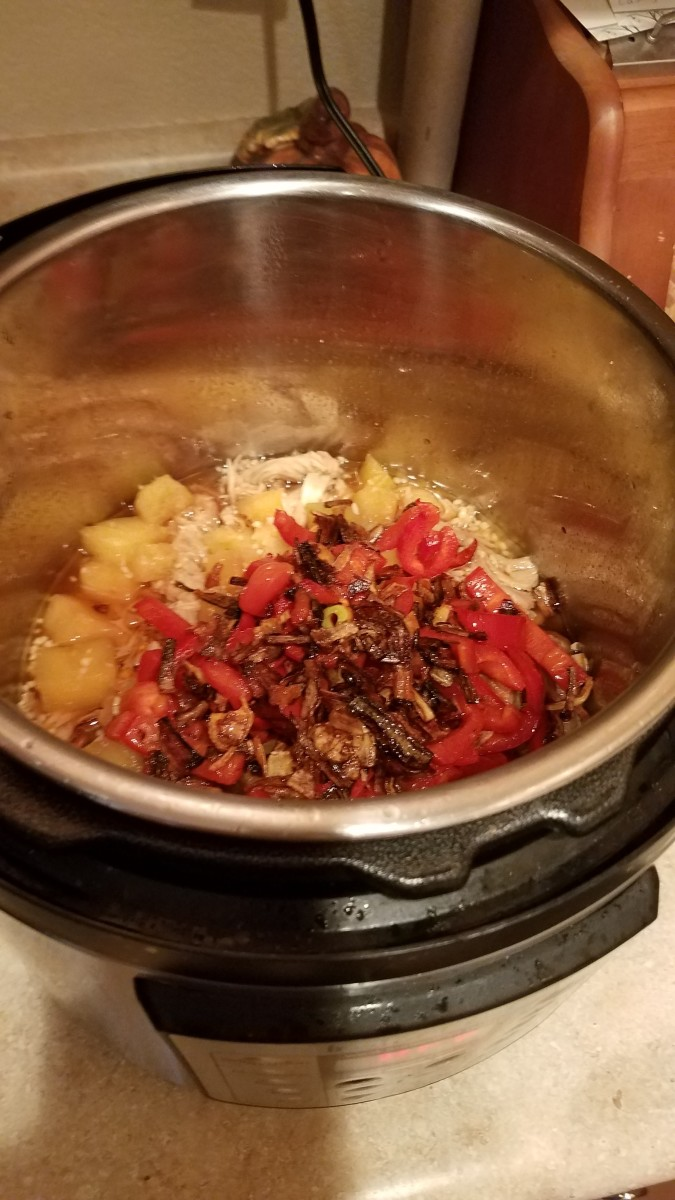 I then dumped in my pepper and onion mix and mixed them together.