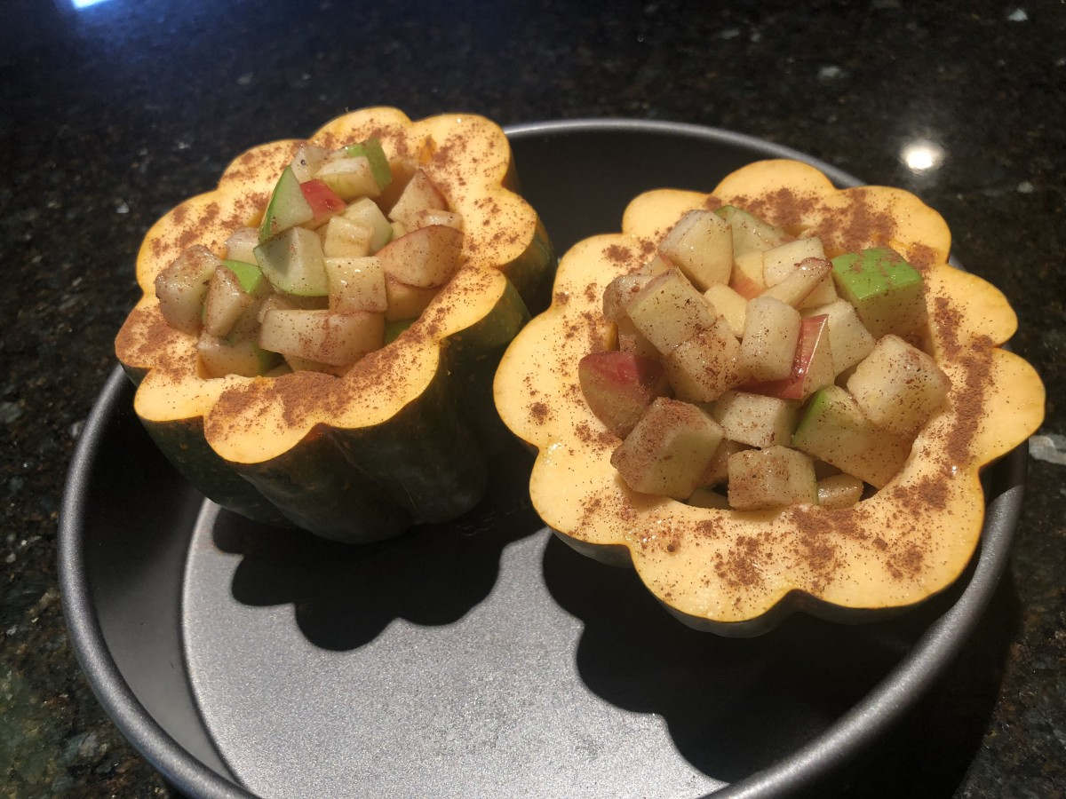 These acorn squash are ready for the oven.