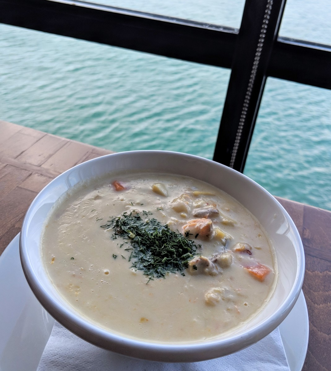 From sea to plate, seafood chowder at Aqua Restaurant