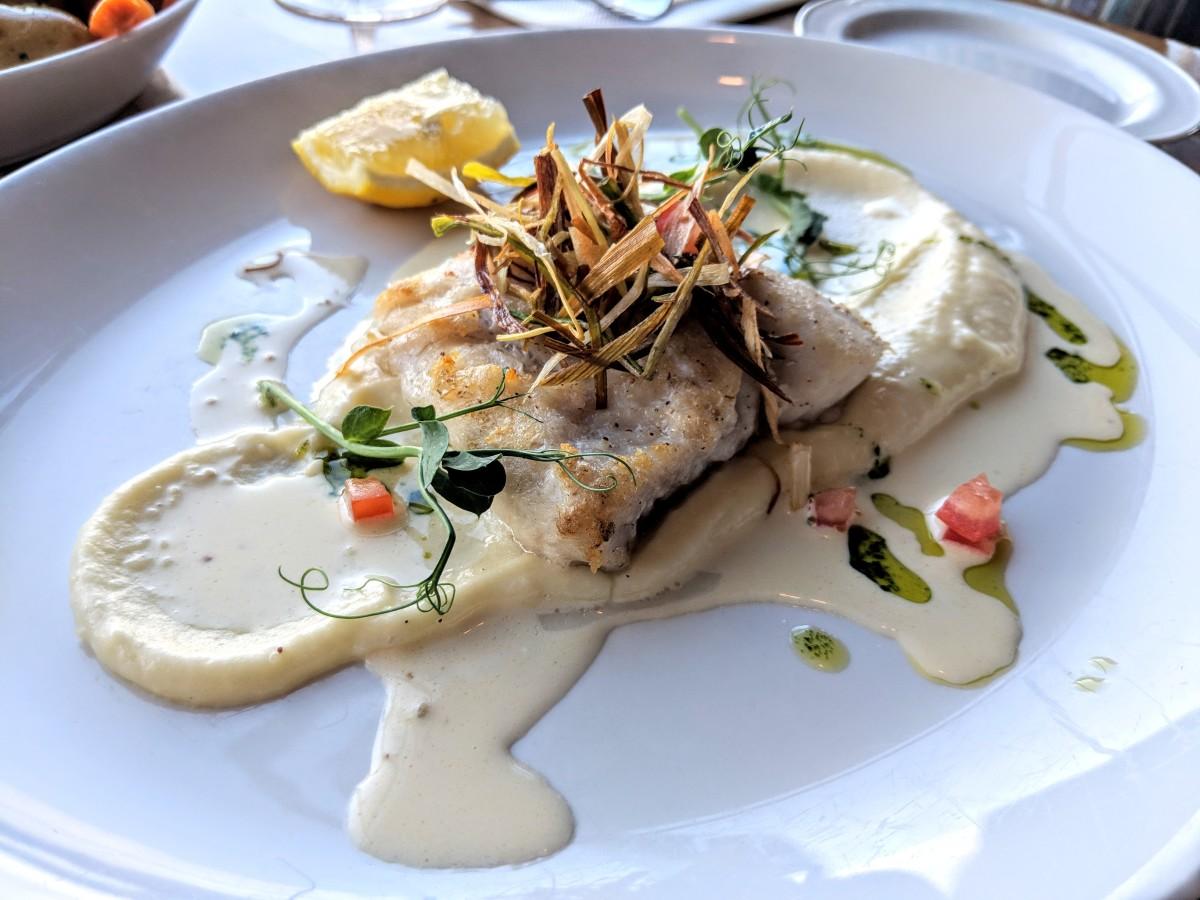 Hake, crispy green onions and potato puree: The hake was the star of the dish at Aqua Restaurant.