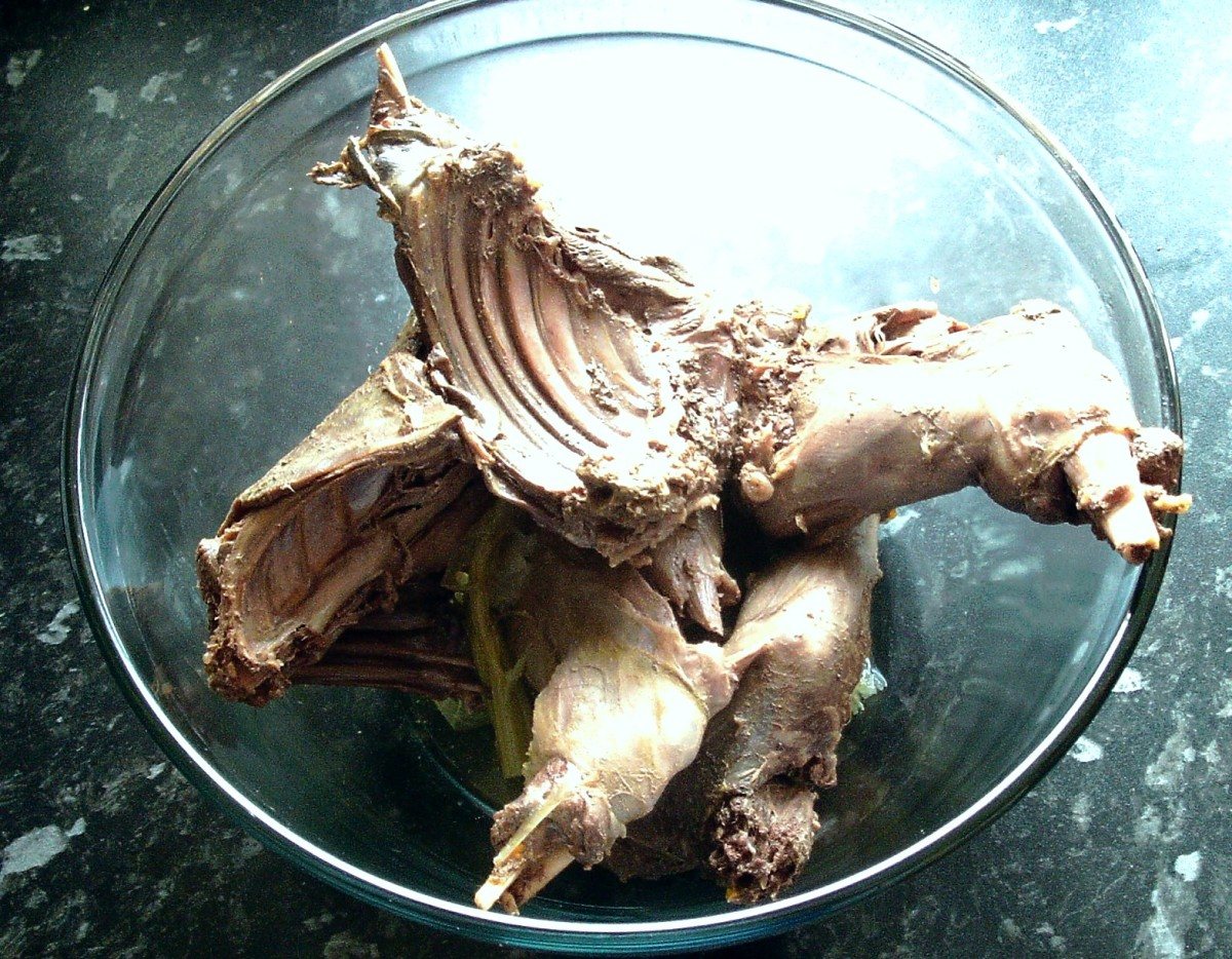 Cooked hare removed from stock