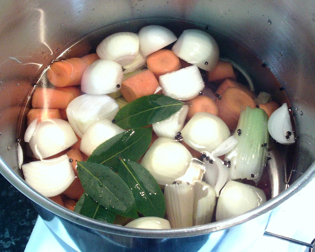 Hare stock ingredients are put on to cook