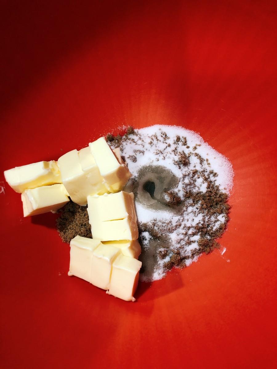 Combine the butter, dark brown sugar, granulated sugar, vanilla, eggs, and peanut butter.