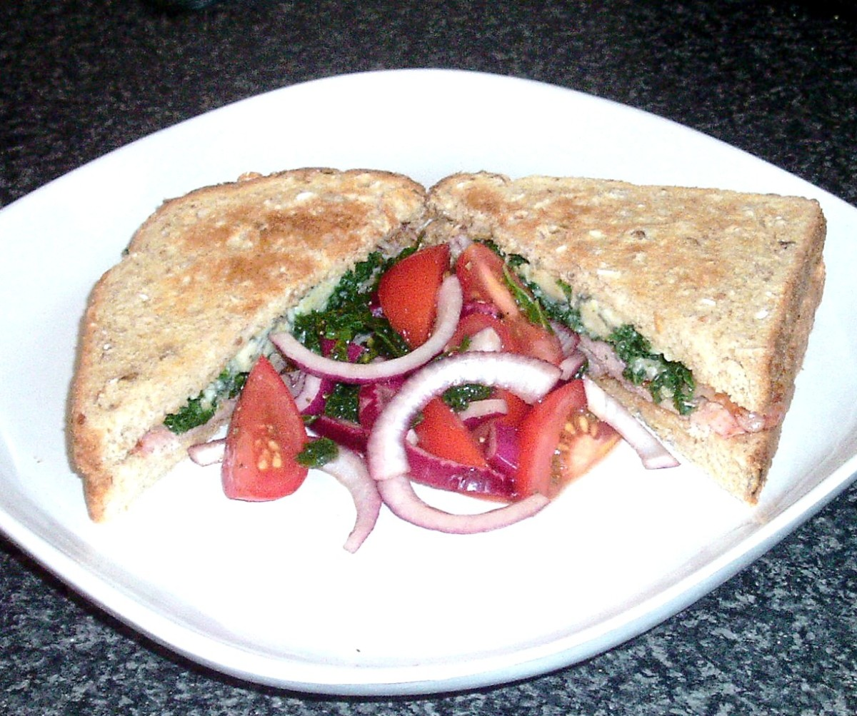 Bacon, kale and Stilton cheese combined in a toasted sandwich