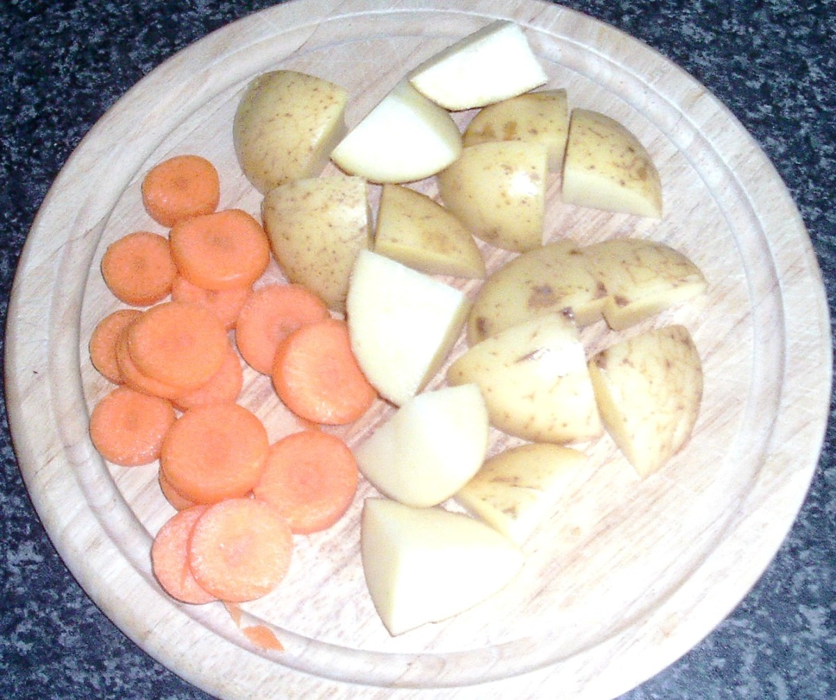 Chopped carrot and potatoes