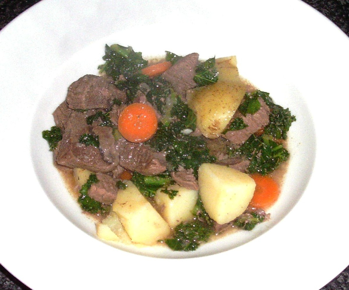 Kale is incorporated in a hearty stew with beef and root vegetables