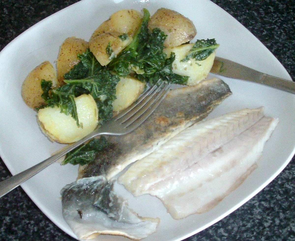 Skin peels easily from cooked sea bass