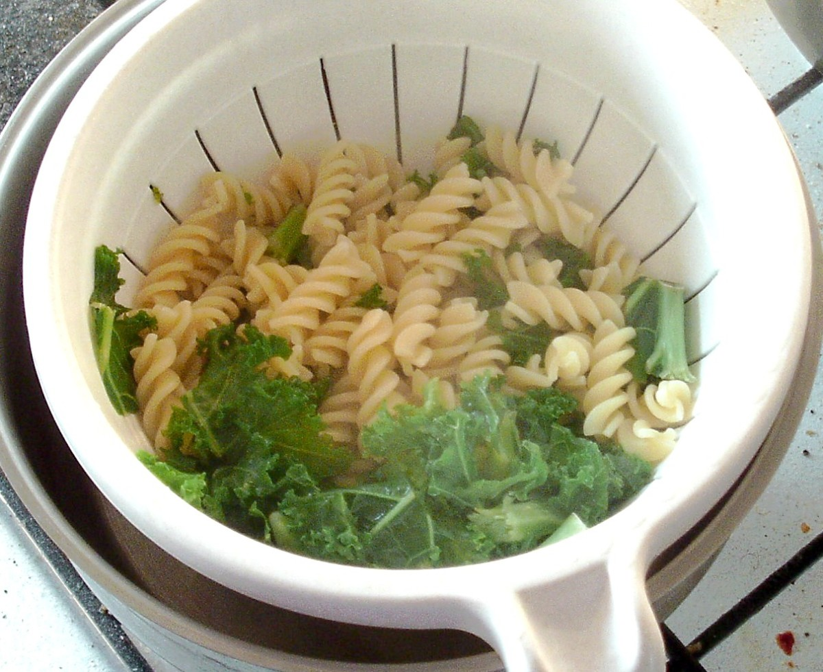 kale and pasta are drained