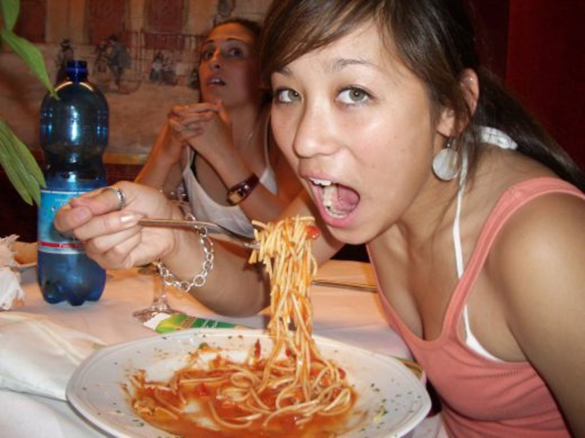 This is not the proper way to eat spaghetti.