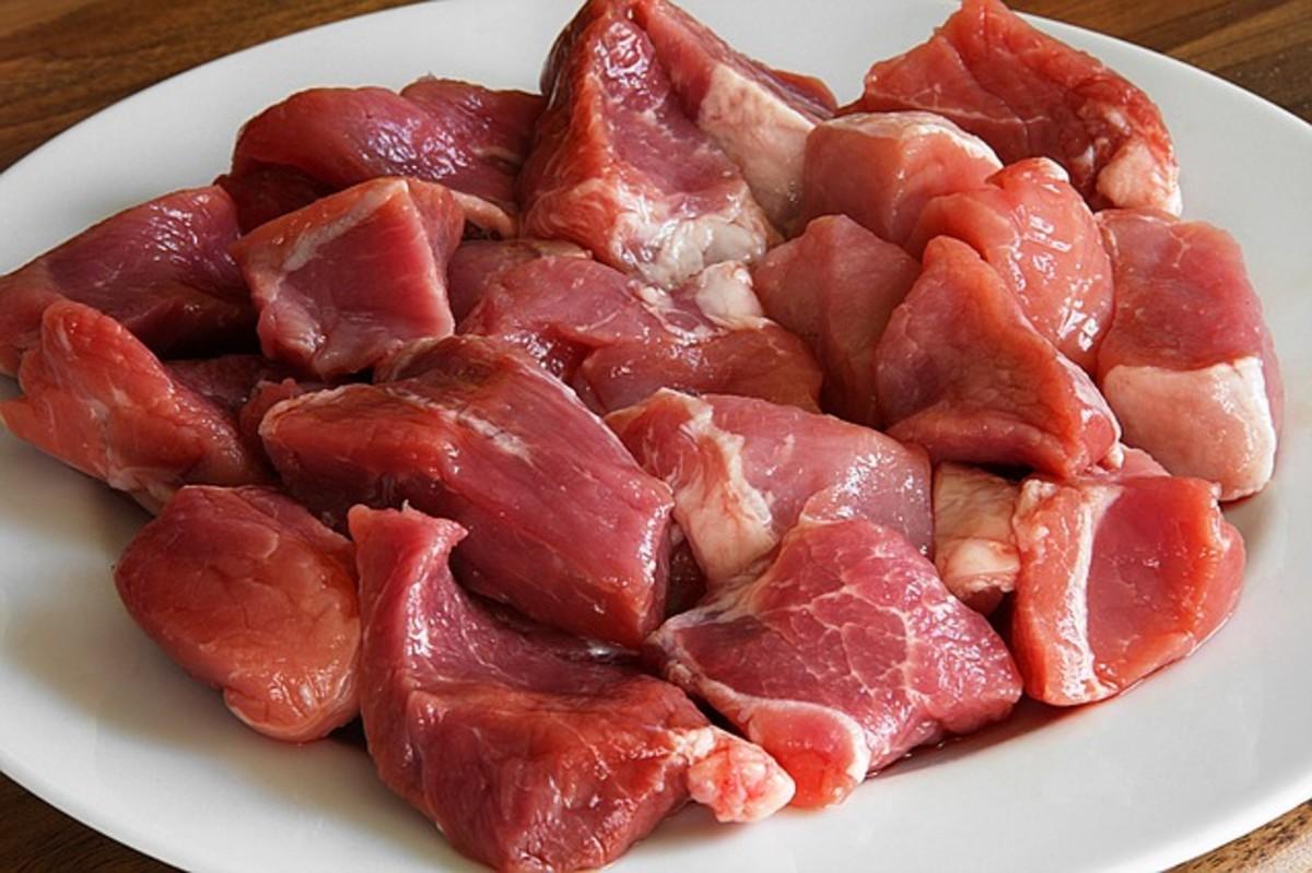 Pork shoulder, cut in 1-inch chunks.