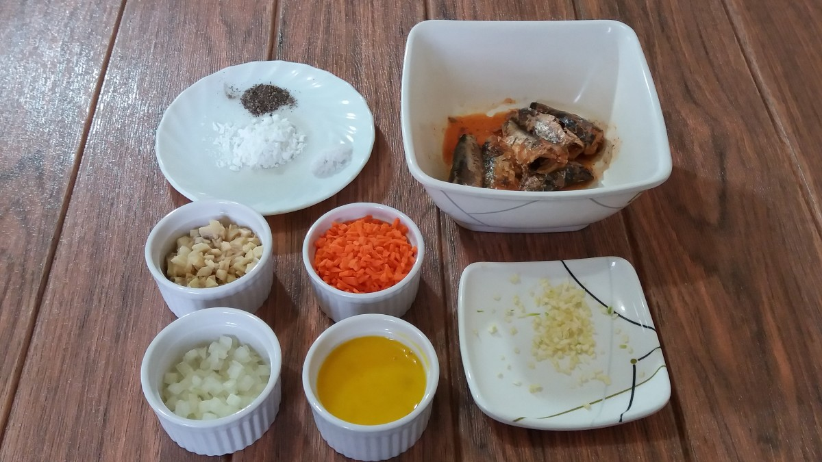 The ingredients for the dumplings.