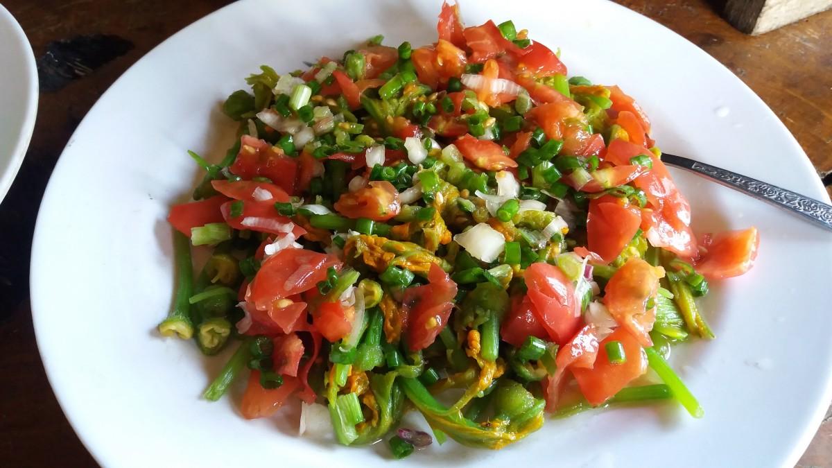 The colorful squash blossom salad