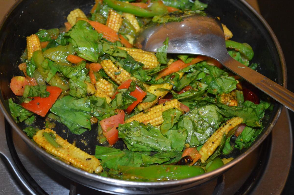 vegetables sautéing