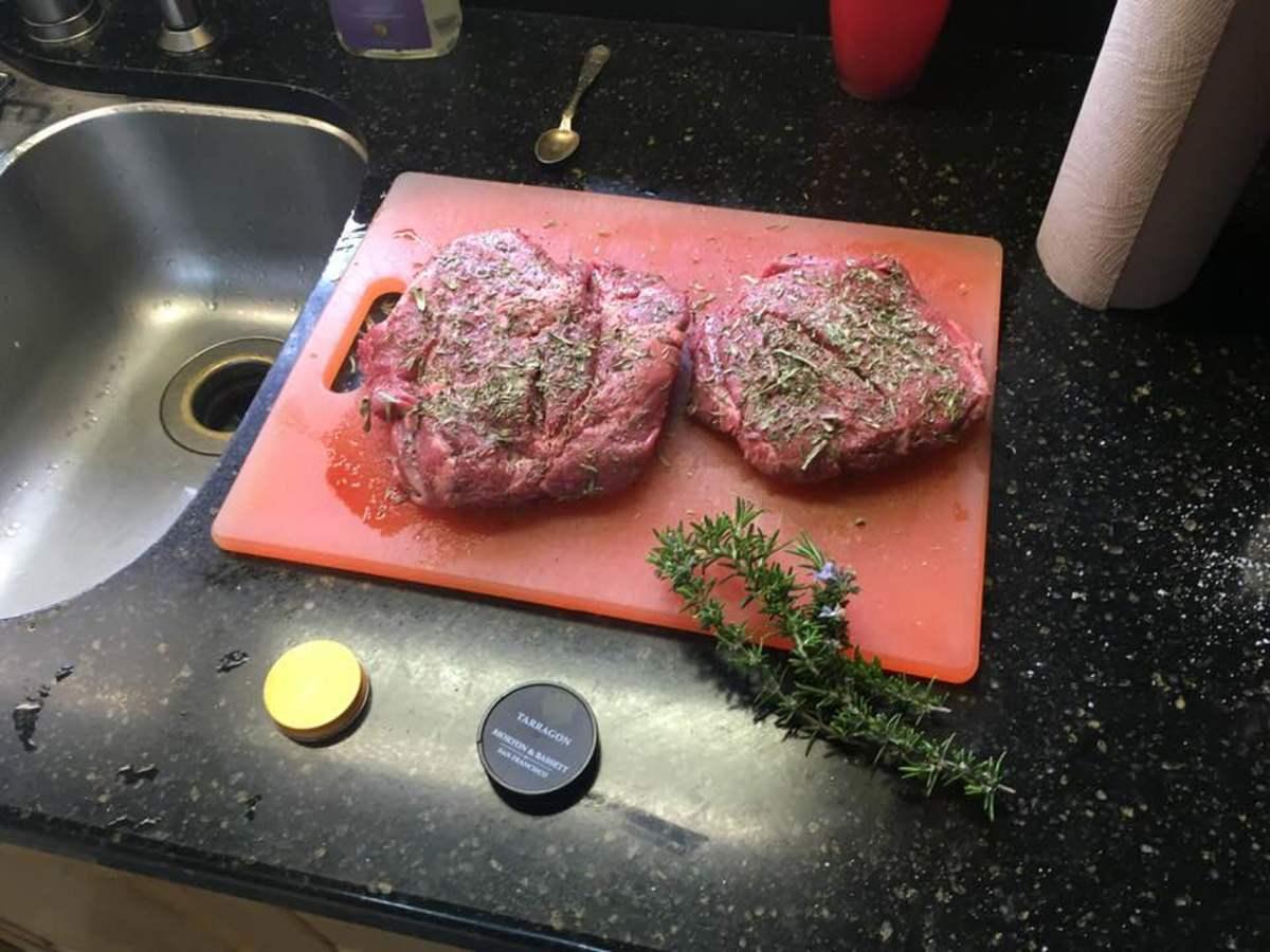 seasoned lamb meat