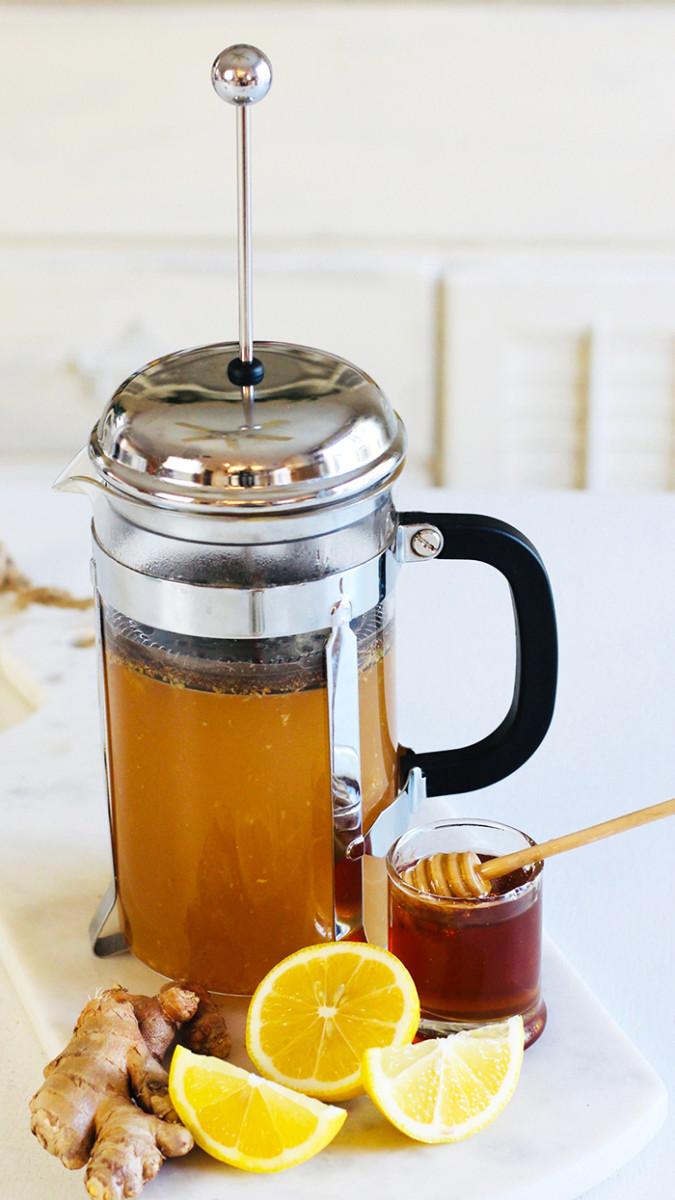 Turmeric ginger tea with cinnamon, lemon and honey