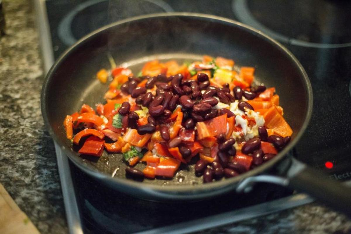 Apricot Glazed Sauteed Beans and Vegetables