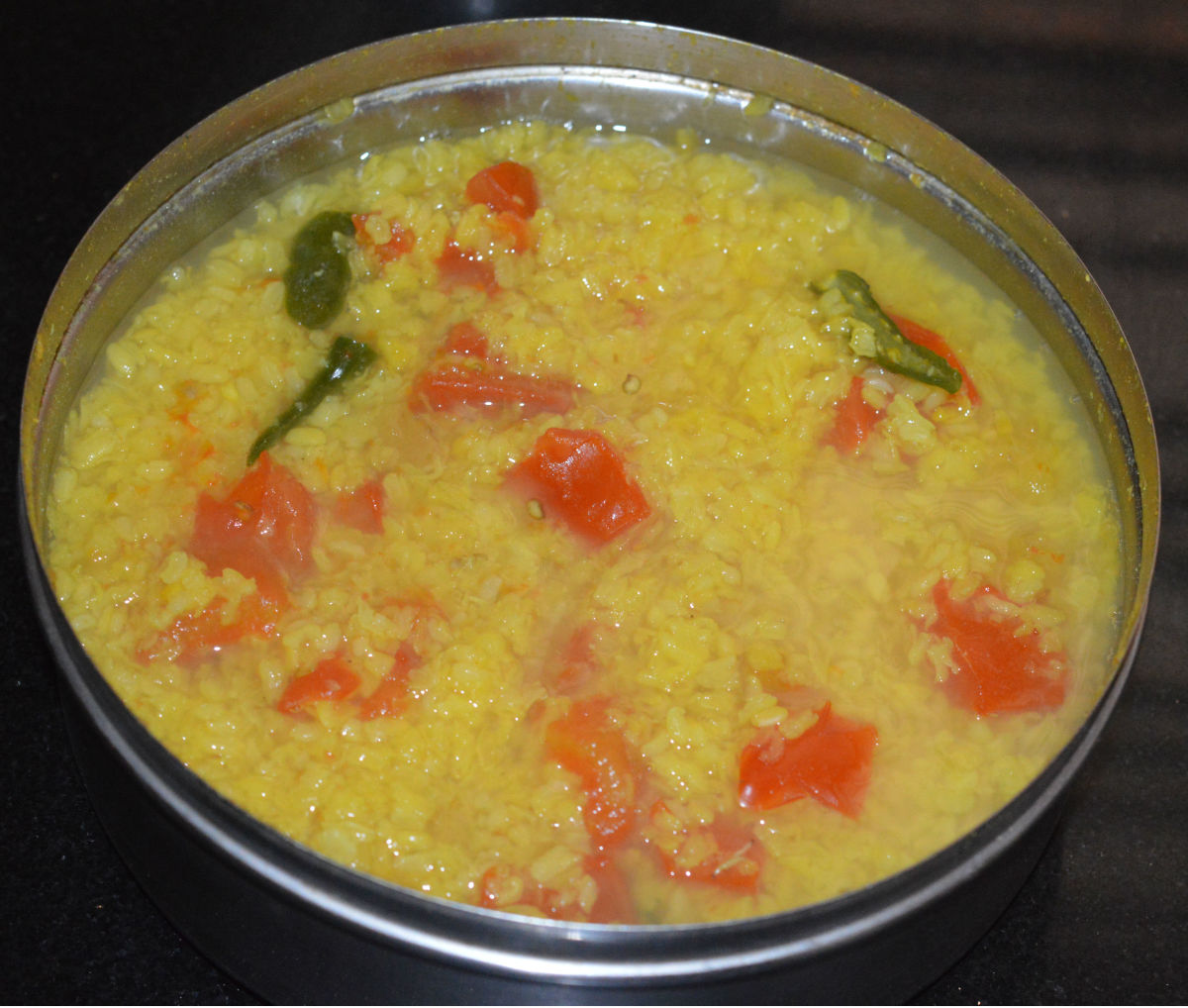 Cooked moong dal mixture