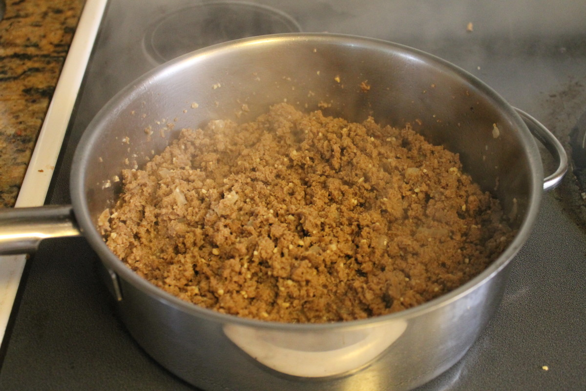 Cooked ground turkey and taco seasonings