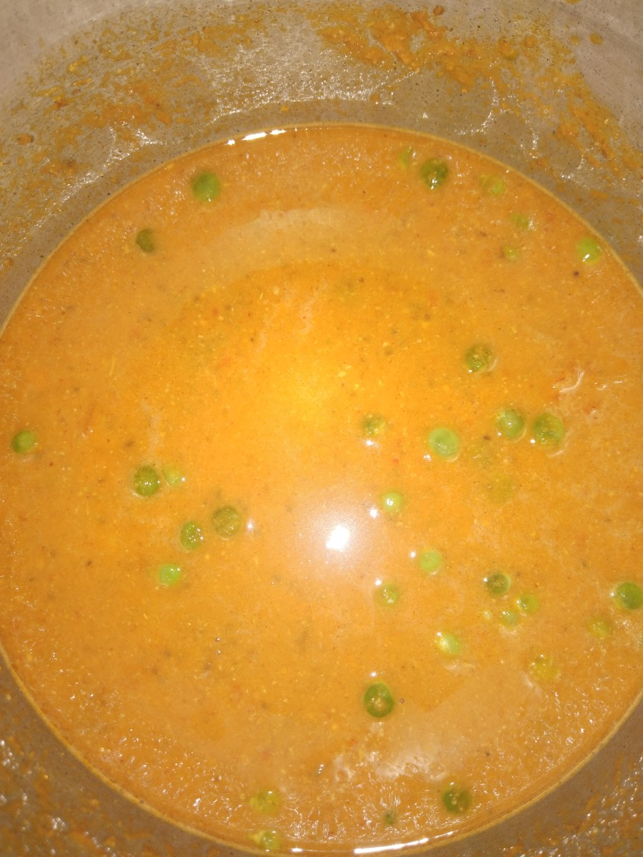 Add 1 cup of water (adjust as needed according to consistency) and salt. Close lid of the cooker and take 2-3 whistles.