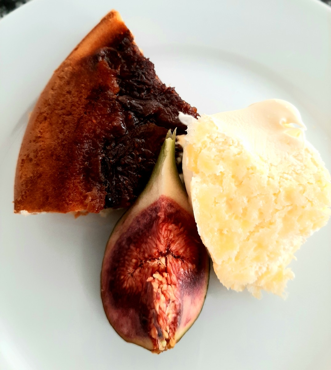 Fig clafoutis, fresh fig and clotted cream