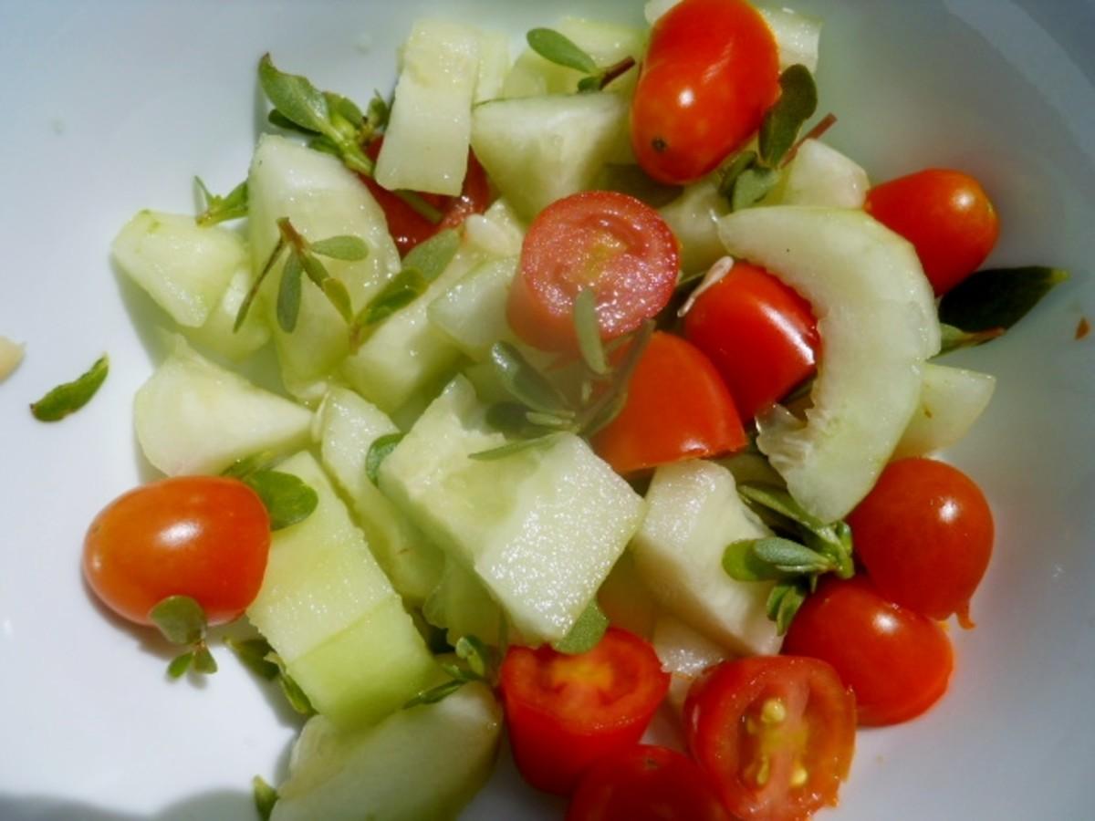 Purslane, cucumber, and tomato salad. So refreshing!
