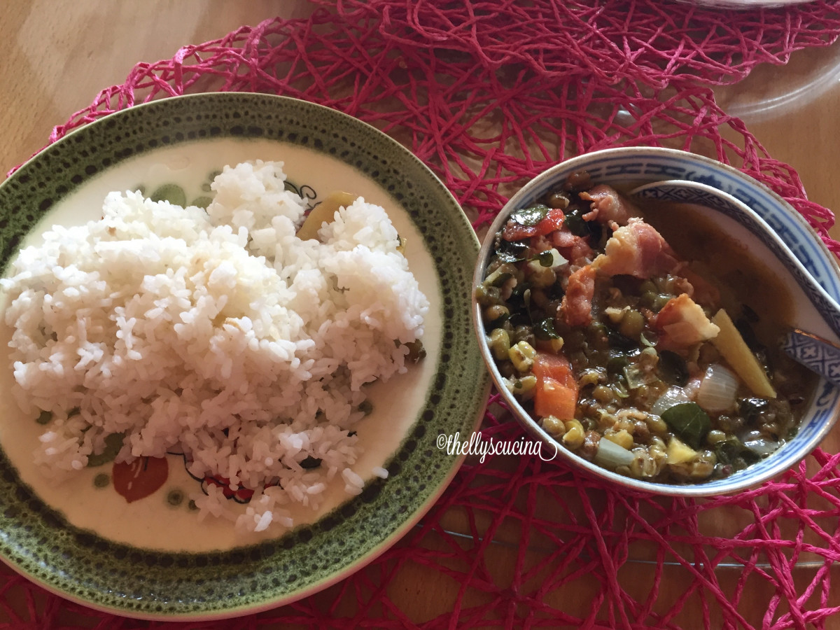 Monggo bean soup pairs well with boiled rice.