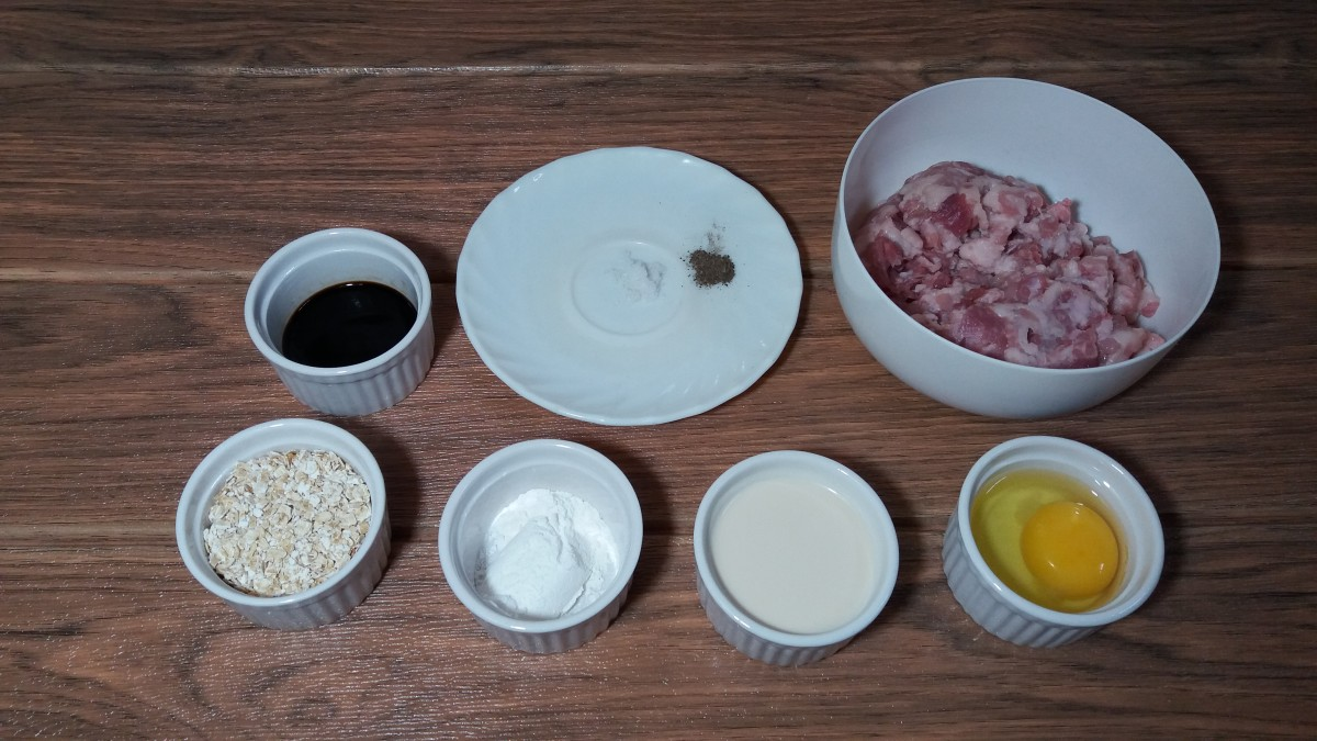 Ingredients for making beef burgers with oatmeal