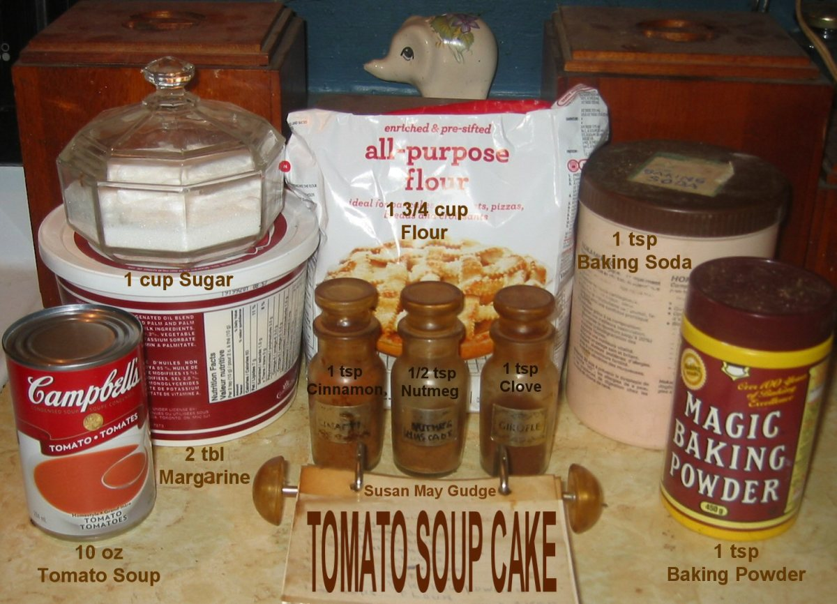 The ingredients for a Tomato Soup Cake.