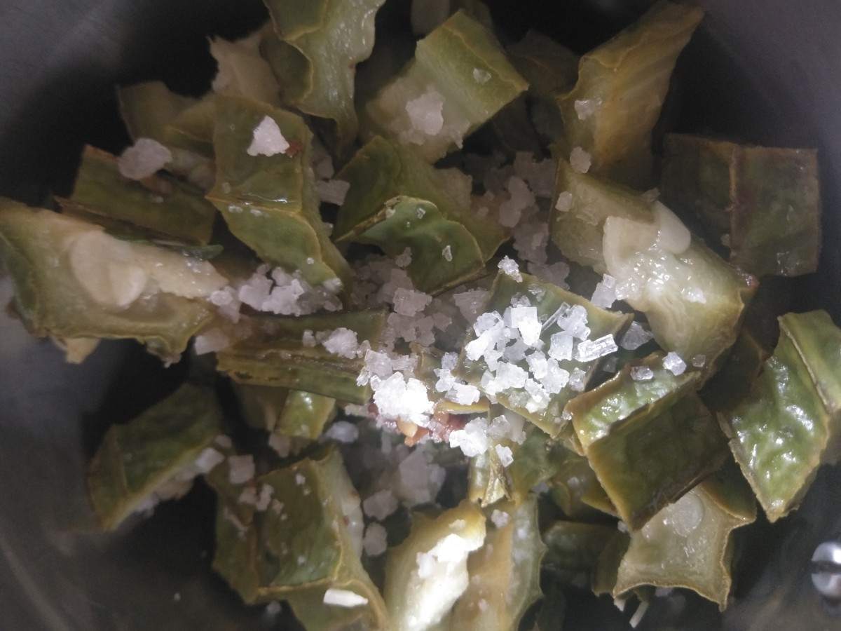 Add cooked ridge gourd and salt as required.