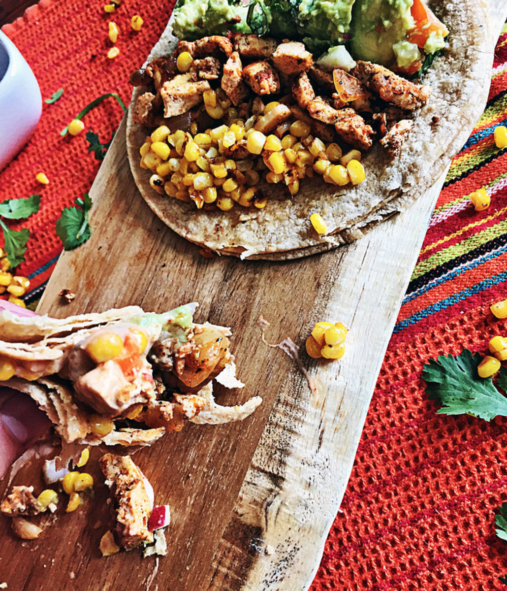 "Spicy Shredded ""Chicken"" Tofu Tacos with Mezcal Lime Corn"